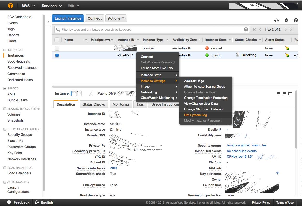 Installing OPNsense AWS image — OPNsense Wiki