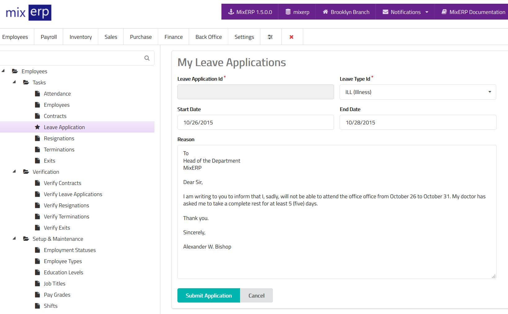 Leave Application (Employee Self Service)