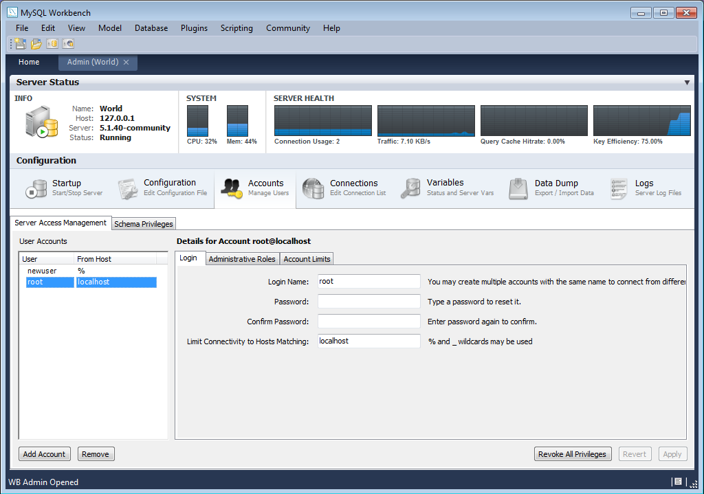 Chapter 16 mysql workbench administrator accounts tab ccuart Images