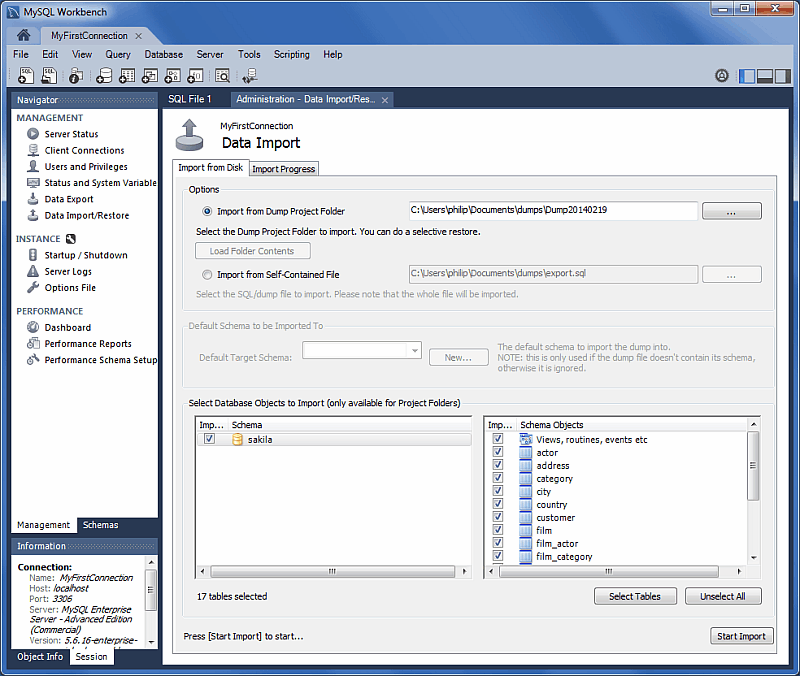 Chapter 5 administrative tasks navigator management data import import from disk ccuart Choice Image