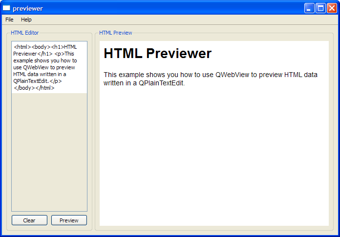 Previewer Example | Qt WebKit Examples 5 4