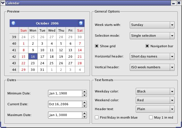 Calendar Widget Example | Qt Widgets 5 8