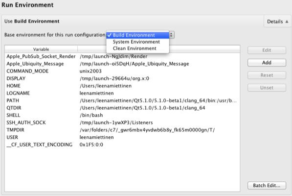 Specifying Run Settings   Qt Creator Manual