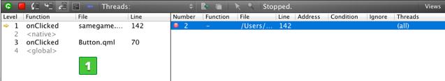 Debugging a Qt Quick Example Application | Qt Creator Manual