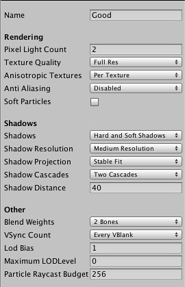 Unity - Quality Settings