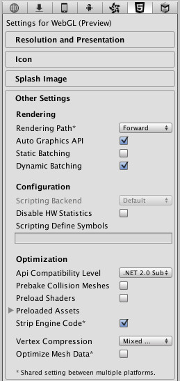 Unity - Manual: WebGL Player Settings