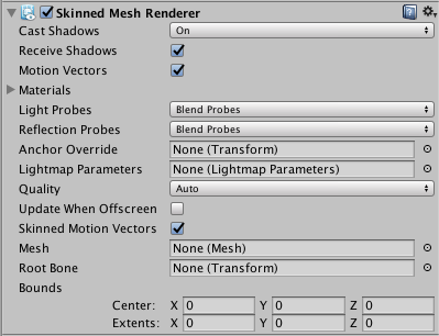 Unity - Manual: [BETA*] Skinned Mesh Renderer