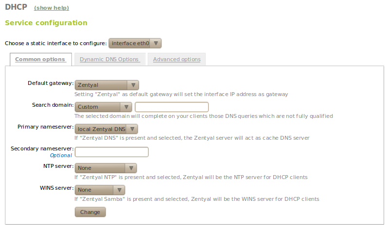 Network configuration service (DHCP) — Zentyal 2 0 documentation